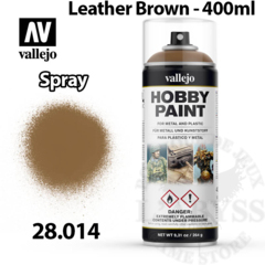 Vallejo Hobby Spray Paint - Leather Brown 400ml - Val28014