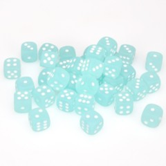 36 D6 Frosted 12mm Dice Teal w/white - CHX27805