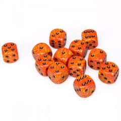 12 D6 Speckled 16mm Dice Fire - CHX25703