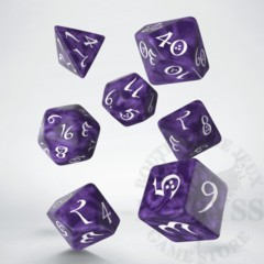 7 Polyhedral Classic RPG Dice Lavender and White - SCLE1B