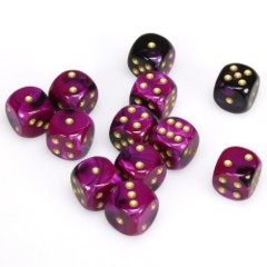12 D6 Gemini 16mm Dice Black-Purple w/gold - chx26640