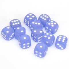 12 D6 Frosted 16mm Dice Blue w/white - CHX27606