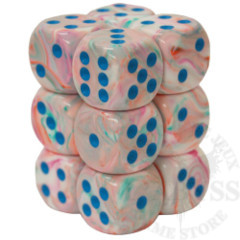 12 D6 Festive 16mm Dice Pop Art with Blue - CHX27744