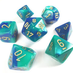 7 Polyhedral Dice Set Gemini Blue-Teal/Gold - CHX26459