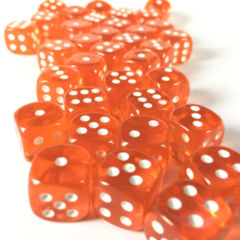 36 D6 Translucent 12mm Dice Orange w/wht - CHX23803