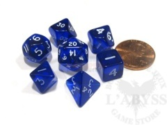 7 Mini-Polyhedral Dice Set Koplow Transparent Blue
