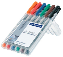 Marker Staedtler Lumocolor Water Soluble non-permanent 1.0mm (6 Color set)