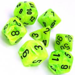 7 Polyhedral Dice Set Vortex Bright Green w/black - CHX27430