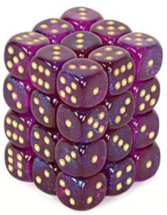 36 D6 Borealis 12mm Dice Royal Purple w/gold - CHX27867