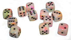 12 D6 Festive 16mm Dice Circus w/black - CHX27642