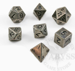7 Mini Polyhedral Metal Dice Set Old Nickel - LD-MMON