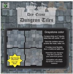 Dry Erase Dungeon Tiles, Graystone – Pack of 36 5″ square tiles