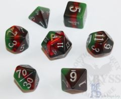 7 Polyhedral LD Birthday Dice Set March Bloodstone - LD-BDBLO3