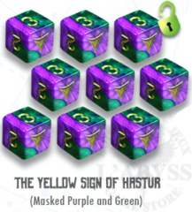 Elder Dice - 9 D6 The Yellow Sign - Masked Purple and Green (ED6-Y11)