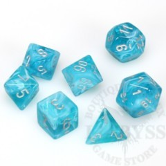 7 Polyhedral Dice Set Cirrus Aqua with Silver - CHX27465