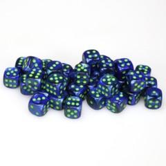 36 D6 Lustrous 12mm Dice Blue w/gold - CHX27896