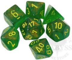 7 Polyhedral Dice Set Borealis Marple Green with Yellow - CHX27565