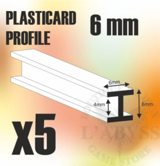 ABS Plasticard Profile H-Beam Columns 6mm x10