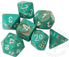 7 Polyhedral Dice Set Marble Oxi-Copper with White - CHX27403