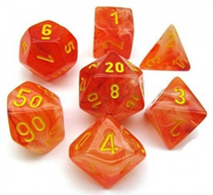 Ghostly Glow Orange and Yellow 7ct Polyhedral Dice Set - CHX27523
