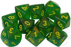 10 D10 Borealis Dice Maple Green with Yellow - CHX27365