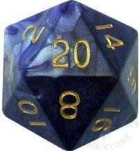 Jumbo 35mm Mega d20 - Blue-WHite-Gold