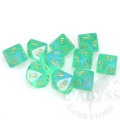 10 D10 Borealis Dice Light Green with gold - CHX27225