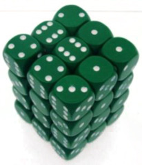 36 D6 Opaque 12mm Dice Green w/white - CHX25805