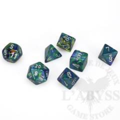 7 Polyhedral Dice Set Festive Green with silver - CHX27445