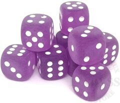 12 D6 Frosted 16mm Dice Purple w/White - CHXLE433