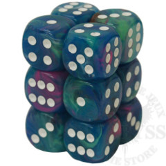 12 D6 Festive 16mm Dice Waterlily with White - CHX27746