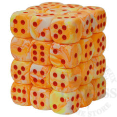 36 D6 Festive 12mm Dice Sunburst with Red - CHX27853
