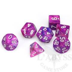 7 Polyhedral Dice Set Festive Violet with White - CHX27457