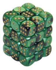 36 D6 Gemini 12mm Dice Black-Green w/gold - CHX26839