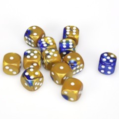12 D6 Gemini 16mm Dice Blue-Gold/white - CHX26622