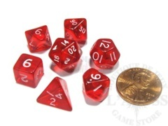 7 Mini-Polyhedral Dice Set Koplow Transparent Red