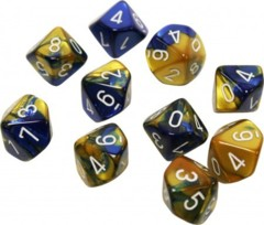 Gemini Blue-Gold/white Set of Ten d10 Dice - CHX26222
