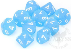 10 D10 Frosted Dice Caribbean Blue with White - CHX27216