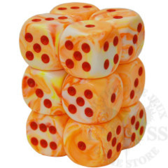 12 D6 Festive 16mm Dice Sunburst with Red - CHX27653