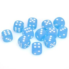 12 D6 Frosted 16mm Dice Caribbean Blue w/white - CHX27616