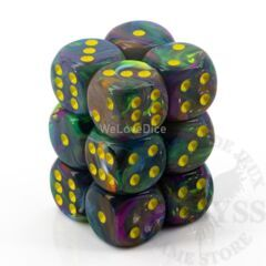 12 D6 Festive 16mm Dice Rio w/Yellow (CHX27649)