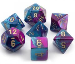 7 Polyhedral Dice Set Gemini Purple-Teal w/Gold - CHX26449