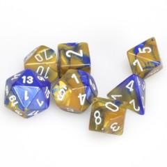 7 Polyhedral Dice Set Gemini Blue-Gold / White - CHX26422