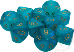 10 D10 Borealis Dice Luminary Teal with Gold - CHX27385