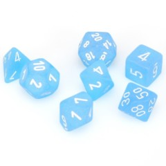7 Polyhedral Dice Set Frosted Caribbean Blue / White - CHX27416