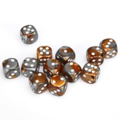 12 D6 Gemini 16mm Dice Copper-Steel/whte - CHX26624