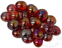 Glass Gaming Stones - Crystal Red Iridized 40+ (CHX01174)