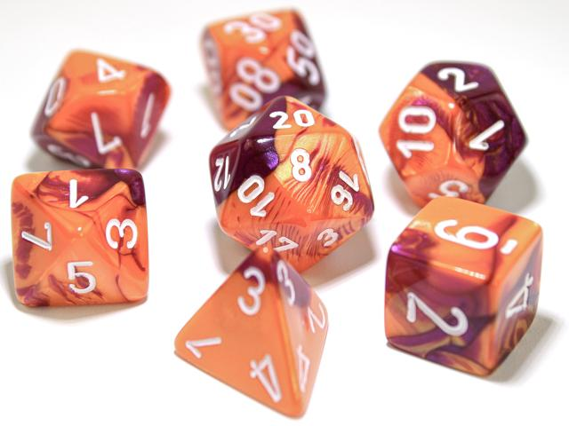 7 Polyhedral Dice Set Gemini Orange-Purple / White - CHX30021