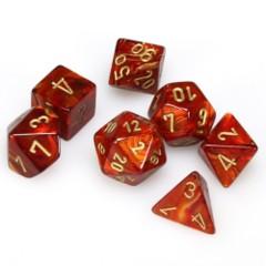 7 Polyhedral Dice Set Scarab Scarlet / Gold - CHX27414