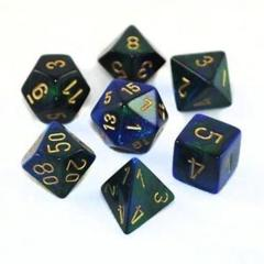 7 Polyhedral Dice Set Gemini Blue-Green / Gold - CHX26436